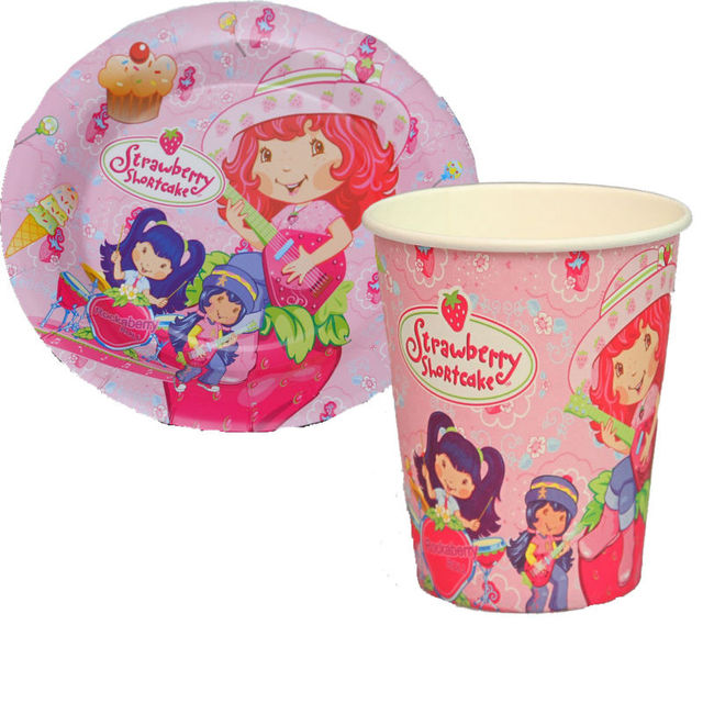 100pcs strawberry shortcake Paper Plates and Cups Party supplies birthday party decoration disposable tableware  sc 1 st  AliExpress.com & 100pcs strawberry shortcake Paper Plates and Cups Party supplies ...