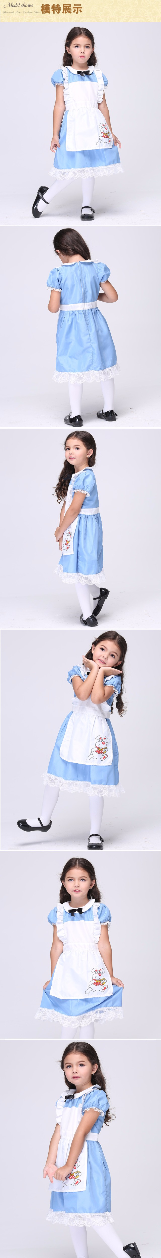 Mädchen Alice im Wunderland Kostüm für Kinder Party Kleid Lolita ...