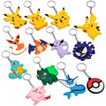 Free Shipping Mix Design 20pcs/lot Pokemon Go Pikachu Silicone Keychain For Car/Bag Key Accessory