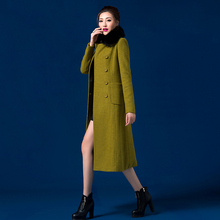 2016 Korean Fashion Women's Slim Winter Wool Coat Turn-down Collar Fox Fur Collar Long Overcoat Plus Size Double Breasted Coats