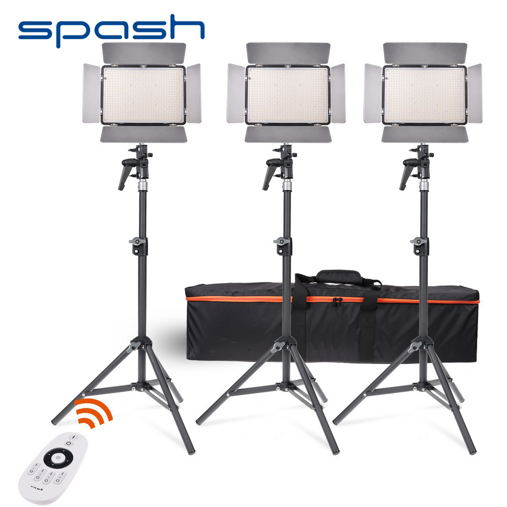 SPASH TL-600AS LED Video Light 3 in 1 Kit Bi-Color Dimmable Photography Lighting + 2.4G Remote Control NP-F550 Battery + Charger
