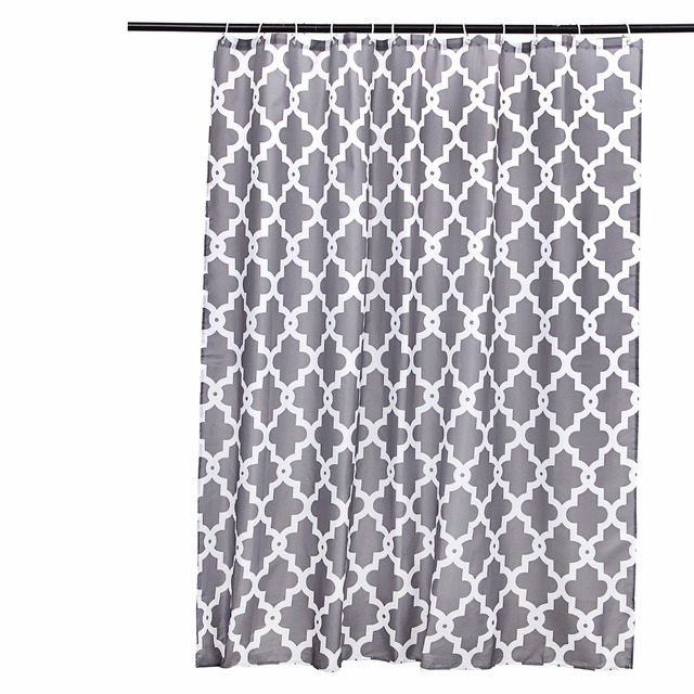 180X180CM Designer Mildew Free Water Repellent Fabric Hookless Grey Shower Curtains Liners For Bathroom