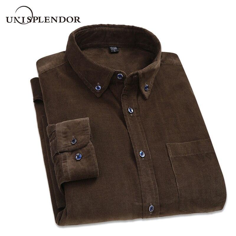 2020 100%Cotton Men Shirt Spring Autumn Men's Clothing Solid Soft Corduroy Man Dress Shirts Thicken Big Size Male Shirt YN10416