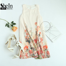 e3710e12b4f4 SheIn Ladies New Arrival Multicolor Sleeveless Flower Print Boho Dresses