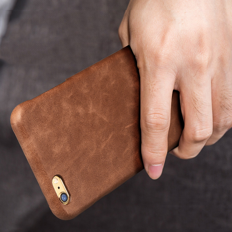 Luxury Vintage Genuine Leather Plastic Back Cover For IPhone 6 6S 6s Plus Phone Bag Fundas