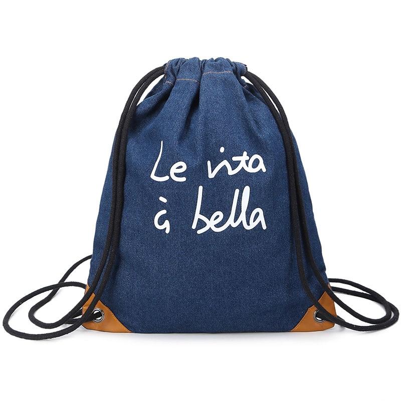 Blue Sport Zaino Sportiva Semplice Trekking Coulisse Denim Uomo Donne Borsa Calda Da Viaggio Vendita All'aperto Palestra Leggero wqnCa4Afx