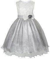 Flower Girl Dress Glitter Sequin Wedding Bridesmaid Pageant 2016 Summer Princess Party Dresses Children Clothes Size