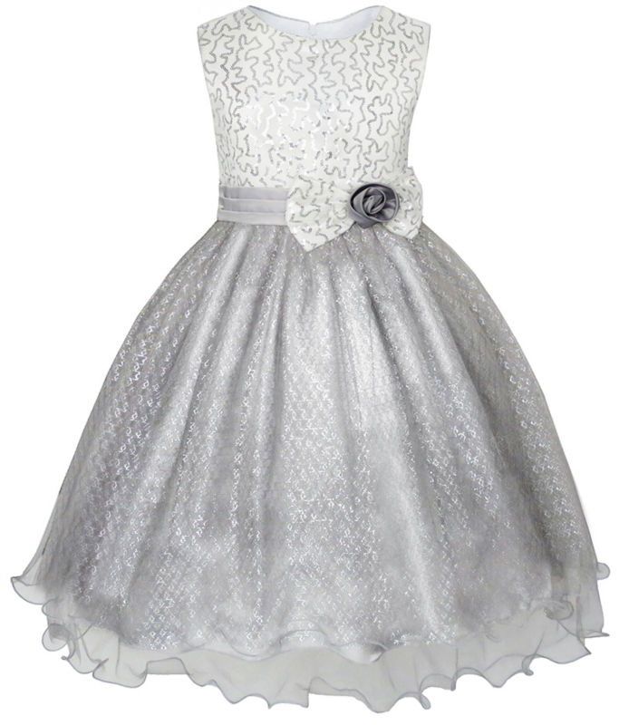 Flower Girl Dress Glitter Sequin Wedding Bridesmaid Pageant 2017 Summer Princess Party Dresses Children Clothes Size