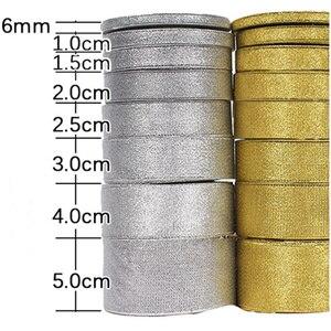 Ленты из органзы золотого/серебряного цвета, ширина 6-50 мм, блестящие ленты с вышитым луком для свадьбы поделки «сделай сам», принадлежности ...