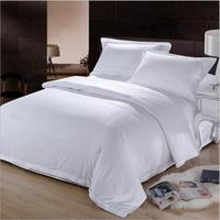 60S High quality hotel bed four pieces Sets full cotton Satin drill Pure white ( sheets + Duvet Cover + 2PC Pillow Case ) C001