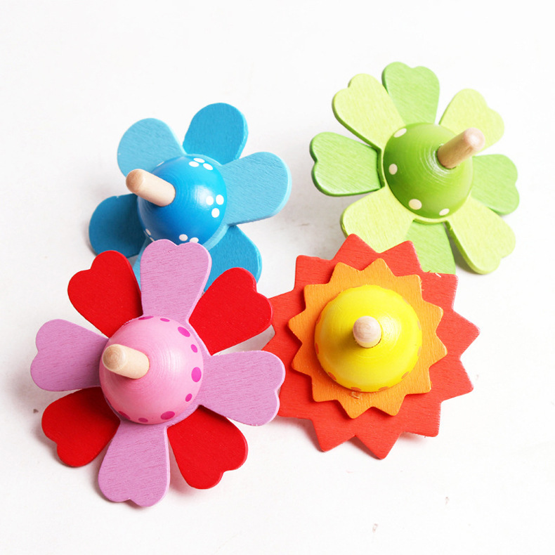 Wooden Toys Flower Rotate Common Develop Intelligence Kids Toys Brinquedo Classic Spinning Top Wood Toy Toys For Chidren