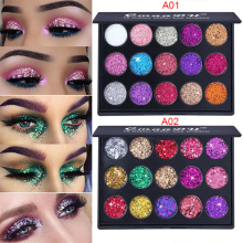 CmaaDu 15 Color Diamond Sequin Eyeshadow Palette Waterproof Shiny Glitter Magnet Powder High-gloss Eyeshadow Shiny Eyeshadow