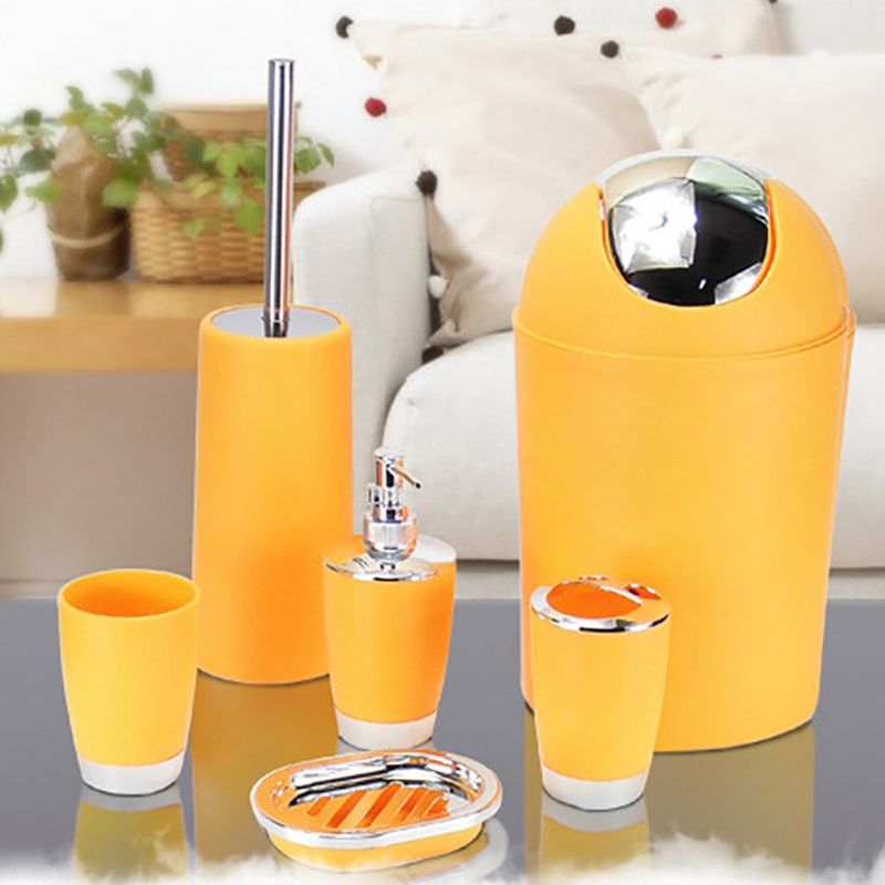 Bathroom set trash accessories toilet toothbrush home soap for Matching bathroom accessories sets