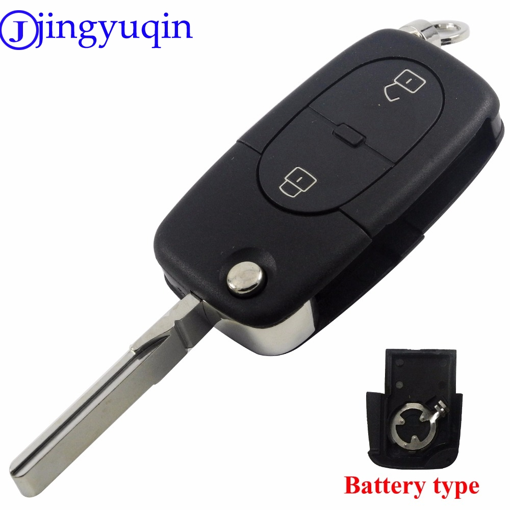 jingyuqin Small CR1620 Battery Holder Key Shell For Audi A2 A3 A4 A6 Old Models 2 Buttons Flip ...