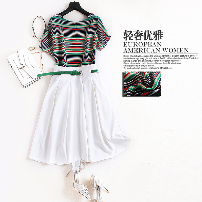 Women elegant green striped short sleeve T-shirts + a-line belt white skirt suits two piece set new 2019 spring summer casual