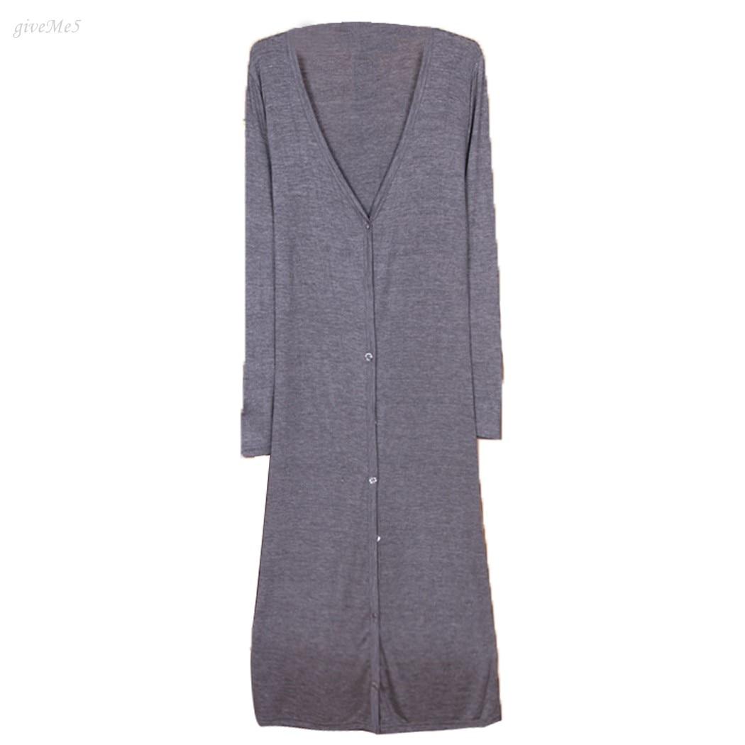Envío de Las Mujeres Maxi Largo Cardigan Botón Prendas de Punto femenino Suéter de Algodón Casual Solid Camisa Tops envío libre 10