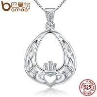 BAMOER Luxury New Genuine 925 Sterling Silver Openwork Gorgeous Crown Pendant Necklaces Women Authentic Silver Jewelry