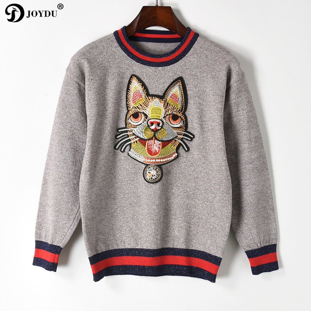 Top Quality Runway Designer Knit Sweater 2018 New Spring Pullover Bulldog Embroidery Novelty Jumper Lady Top pull sueter mujer