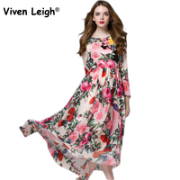 Viven Leigh Chiffon Rose Print Long Sleeve Belted Wrap Dress Round Neck A Line Maxi Dress
