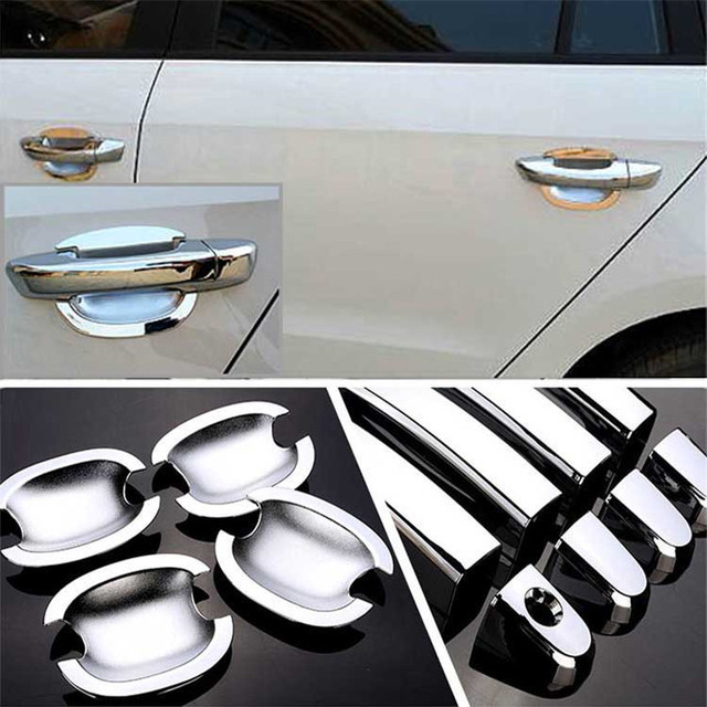 $ 28.19 Non-Rusty Chrome Door Handle Bowl Cover Cup Overlay Trim For VW Polo