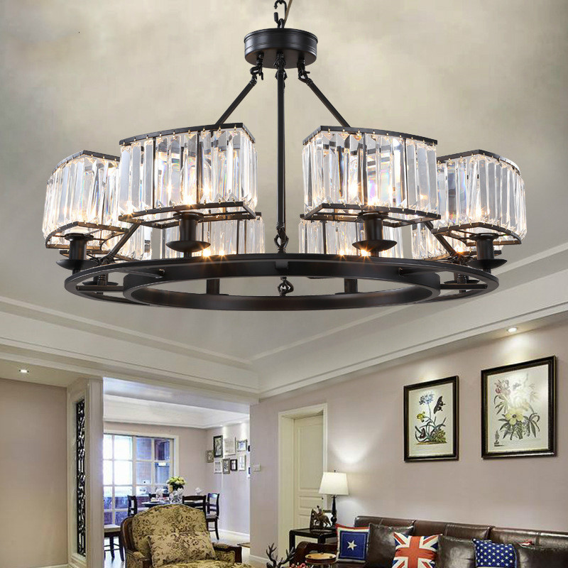 Foyer Pendant Crystal Chandelier Lighting Dining Room E14 Led Kitchen Fixture Retro Rust Iron Hanging Lamp Led Chandelier Lustre Ceiling Lights & Fans Lights & Lighting