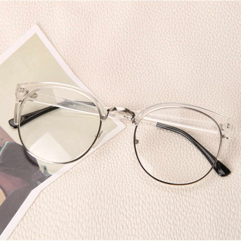 4f6cd122b16 Clear Fashion Round Transparent Glasses Frame Women Semi Rimless Nerd Female  Grade Points Decoration Eyeglass with