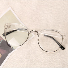Clear Fashion Round Transparent Glasses Frame Women Semi Rimless Nerd Female Grade Points Decoration Eyeglass with Optical Lens