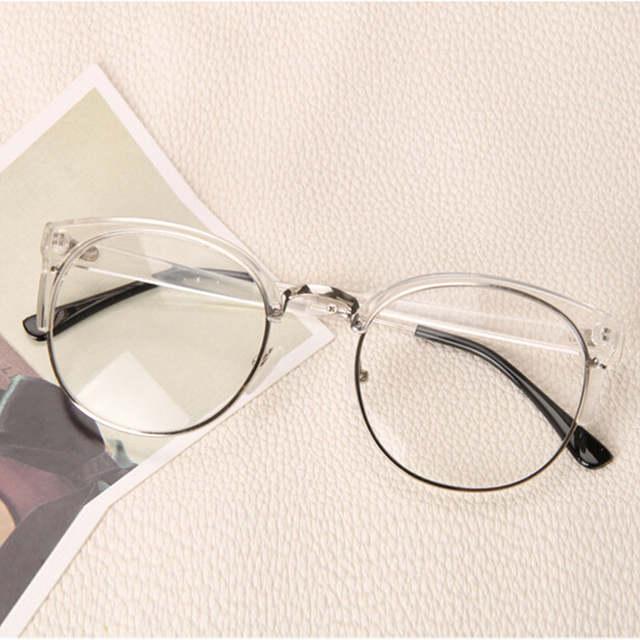 ae13696403d5d Forma clara Rodada Transparente Óculos de Armação Mulheres Decoração Óculos  De Nerd de óculos Sem Aro