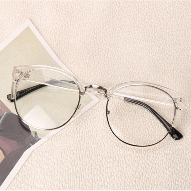 Temizle Moda Yuvarlak şeffaf Gözlük çerçeve Kadınlar Yarı çerçevesiz