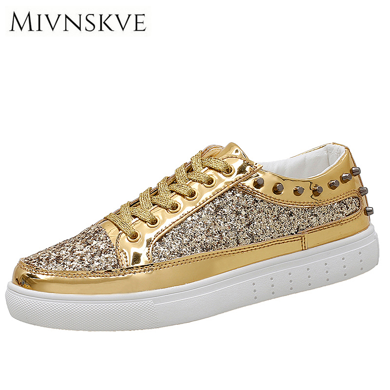 MIVNSKVE New 2017 High Quality Lovers Flats Shoes Breathable Fashion Golden Shiny Men Casual Shoes Zapatos Hombre Mens Flats 2017 new arrival spring men casual shoes mens trainers breathable mesh shoes male hombre hip hop street shoes high quality
