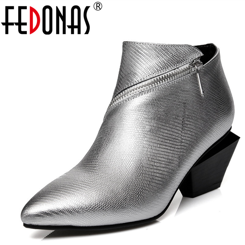 FEDONAS Fashion Women Ankle Pumps Boots New Autumn Pumps High Heel Genuine Leather Shoes Woman Black Silver Female BootsFEDONAS Fashion Women Ankle Pumps Boots New Autumn Pumps High Heel Genuine Leather Shoes Woman Black Silver Female Boots
