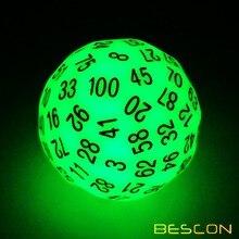 Bescon супер нефритовые Светящиеся в темноте многогранные кости 100 сторон, светящиеся D100 штампы, 100 сторонний кубик, светящиеся D100 игровые кости