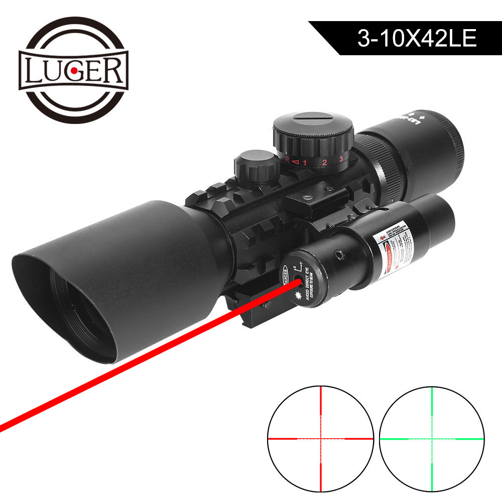 LUGER M9 3-10x42EG Tactical Optics Reflex Sight Riflescope Picatinny Weaver Mount Red Green Dot Hunting Scopes With Red Laser