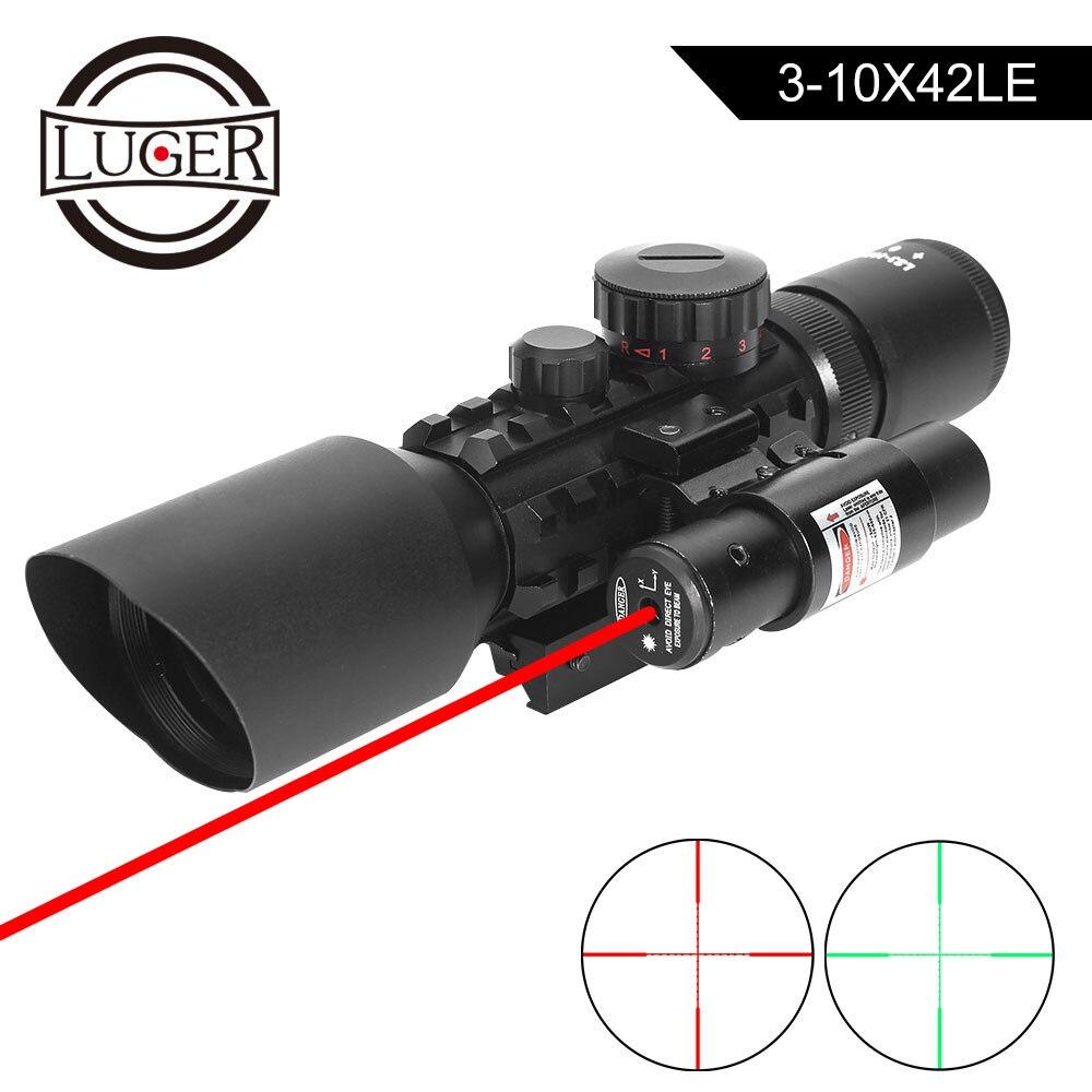 LUGER M9 3-10x42EG optique tactique lunette de visée réflexe Picatinny Weaver Mount rouge vert Dot lunettes de chasse avec Laser rouge