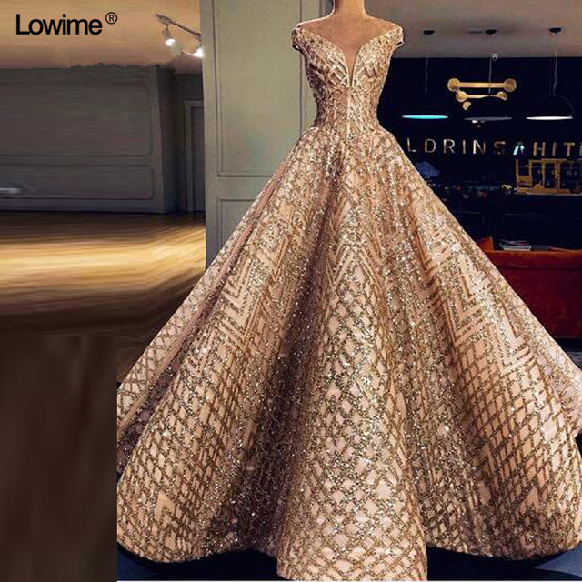 Sexy Elie Saab Long Gold Ball Gown Formal Evening Prom
