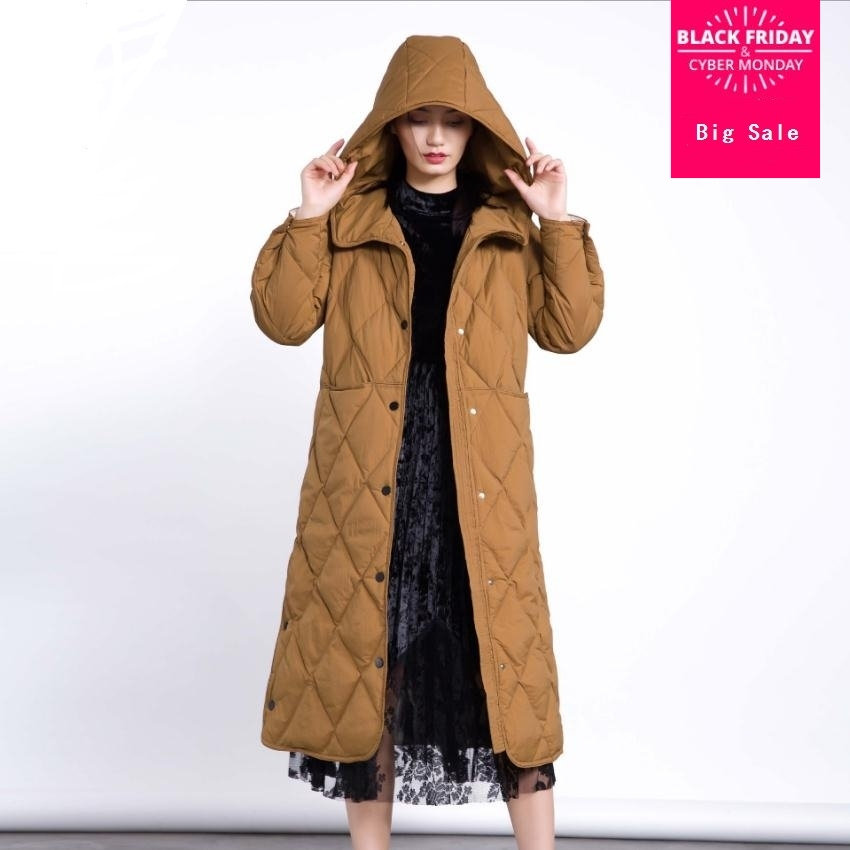 2019 Winter fashion brand good quality 90% real duck   down     coat   female rhombic stitching hooded long warm   down     coats   wq128
