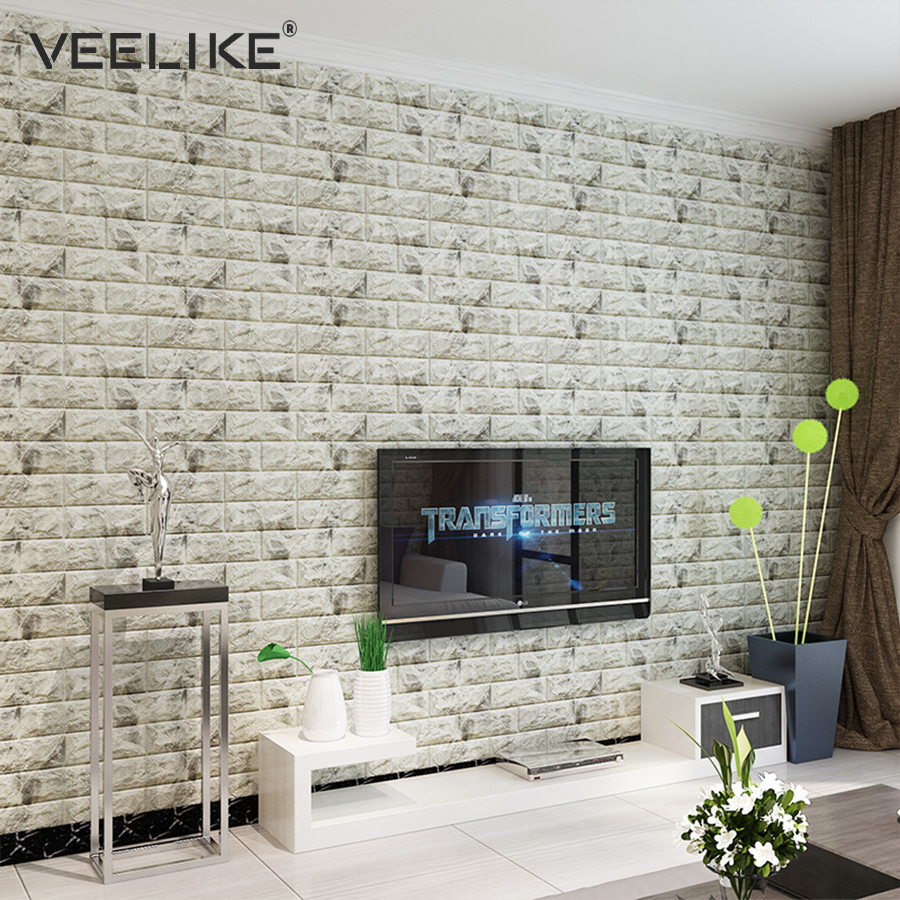 3d Wall Decor Us 8 13 39 Off The Living Room Kitchen Wall Decor 3d Wall Panels Bedroom Retro Brick Wall Covering Home Decor Self Adhesive 3d Brick Wallpaper In