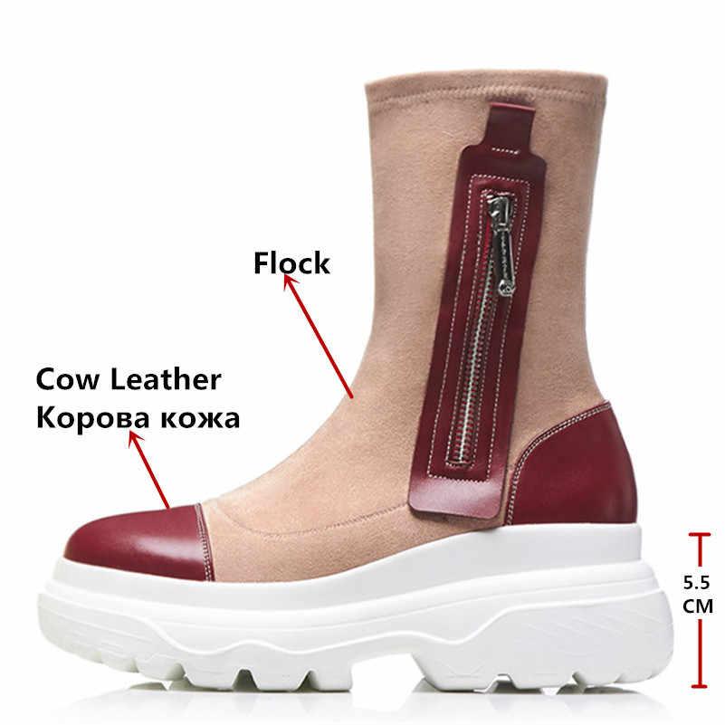 FEDONAS Marka Kadın Patchwork Orta Buzağı Çizmeler Takozlar Yüksek Topuklu Sonbahar Kış Ayakkabı Kadın Yuvarlak Ayak Platformları Bayan Botları