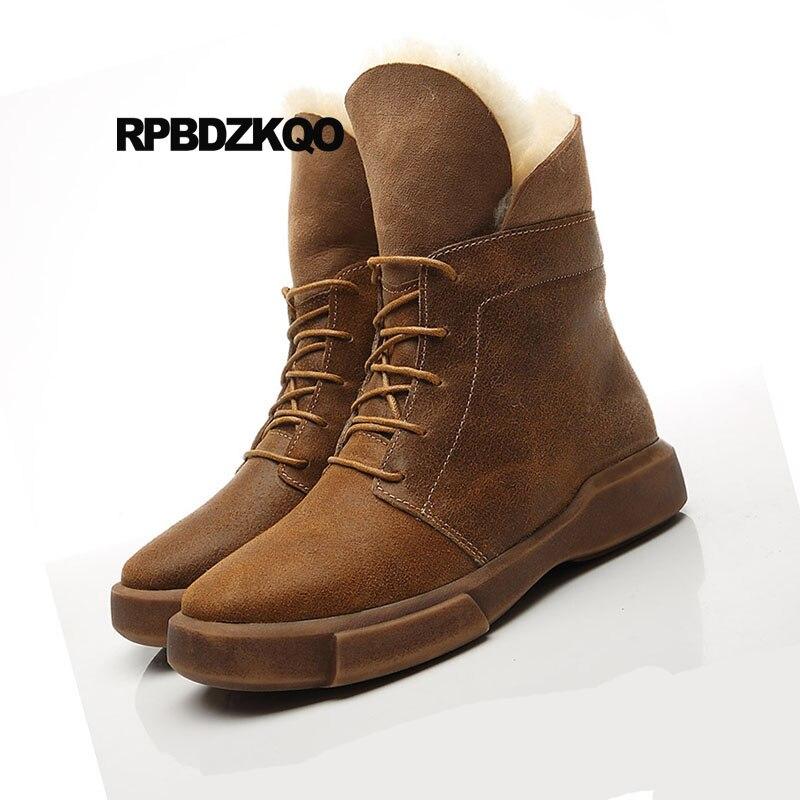 Genuino Zapatos Negro Real Suede Plana Australiana Marrón Tobillo Botas A De marrón Cuero Piel Mujeres Hecho Nieve Encaje Mano Oveja Invierno Cómodo RTgICAAqn