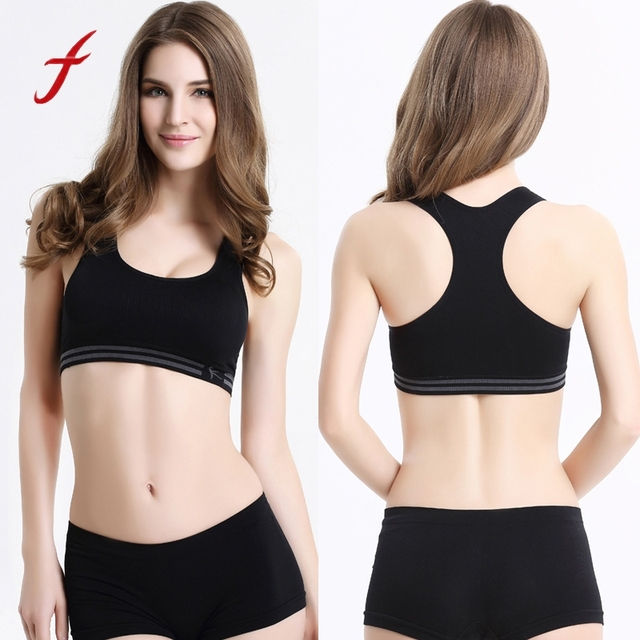 7b8ef04bd58e8 Feitong 2018 New Lady Crop Tops Padded Vest Fitness Fitness Stretch Sporting  Bras For Women Bras