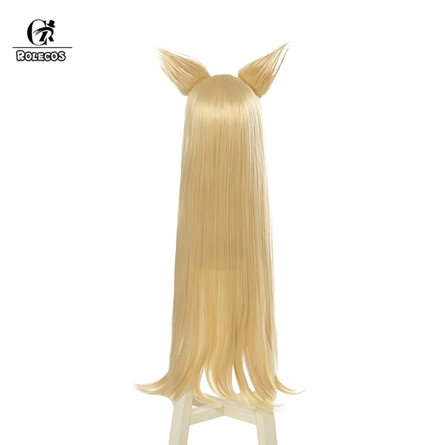 ROLECOS KDA Ahri Cosplay Hair LoL KDA Cosplay Headwear LOL KDA 90CM Yellow Long Women Hair Heat Resistant Synthetic Hair Perucas 2