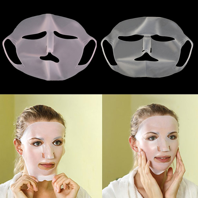 1Pc Reusable Silicone Face Skin Care Mask for Sheet Mask Prevent Evaporation Steam Reuse Waterproof  Mask Pink/White Beauty Tool