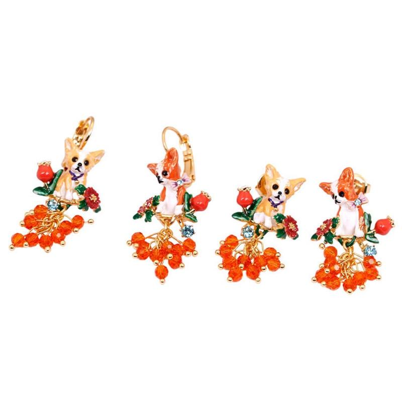 French Jewelry Enamel Glaze Paris Cute Chihuahua Series Chihuahua Fawn Dog Tassel Asymmetry Earrings Women Earrings modalu london mh6151 fawn
