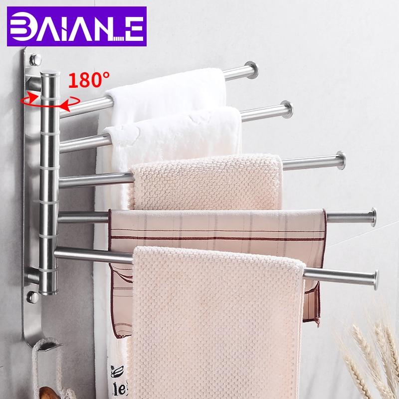 Towel Bar Stainless Steel Bathroom Towel Rack Hanging Holder Wall Mounted Rotating Towel Rail Hanger with Hook Bathroom Shelf