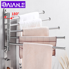 цена на Towel Bar Stainless Steel Bathroom Towel Rack Hanging Holder Wall Mounted Rotating Towel Rail Hanger with Hook Bathroom Shelf