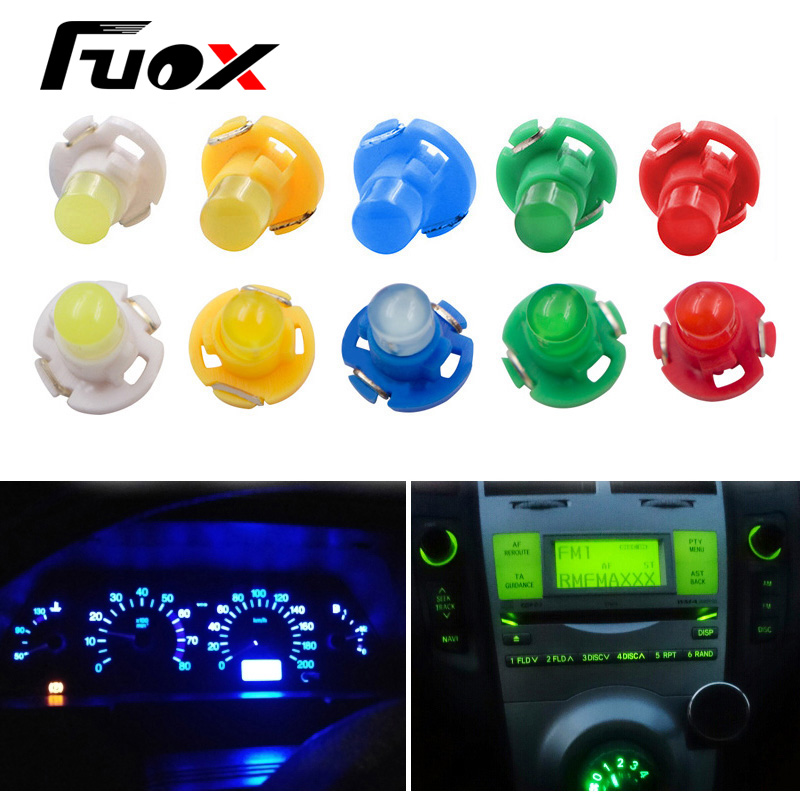 10x T3 LED Car Light Bulb Gauges Dashboard White / Yellow/ Blue / Red / Green instruments Panel Climate Base Lamp Light Styling