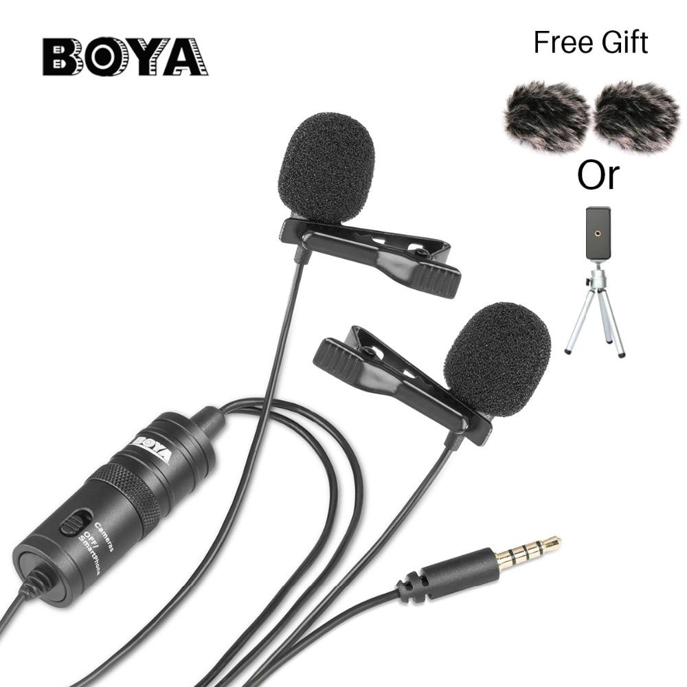 Boya BY-M1DM cabeça dupla lapela omnidirecional condensador microfone gravação de áudio para iphone andriod dslr canon nikon filmadora