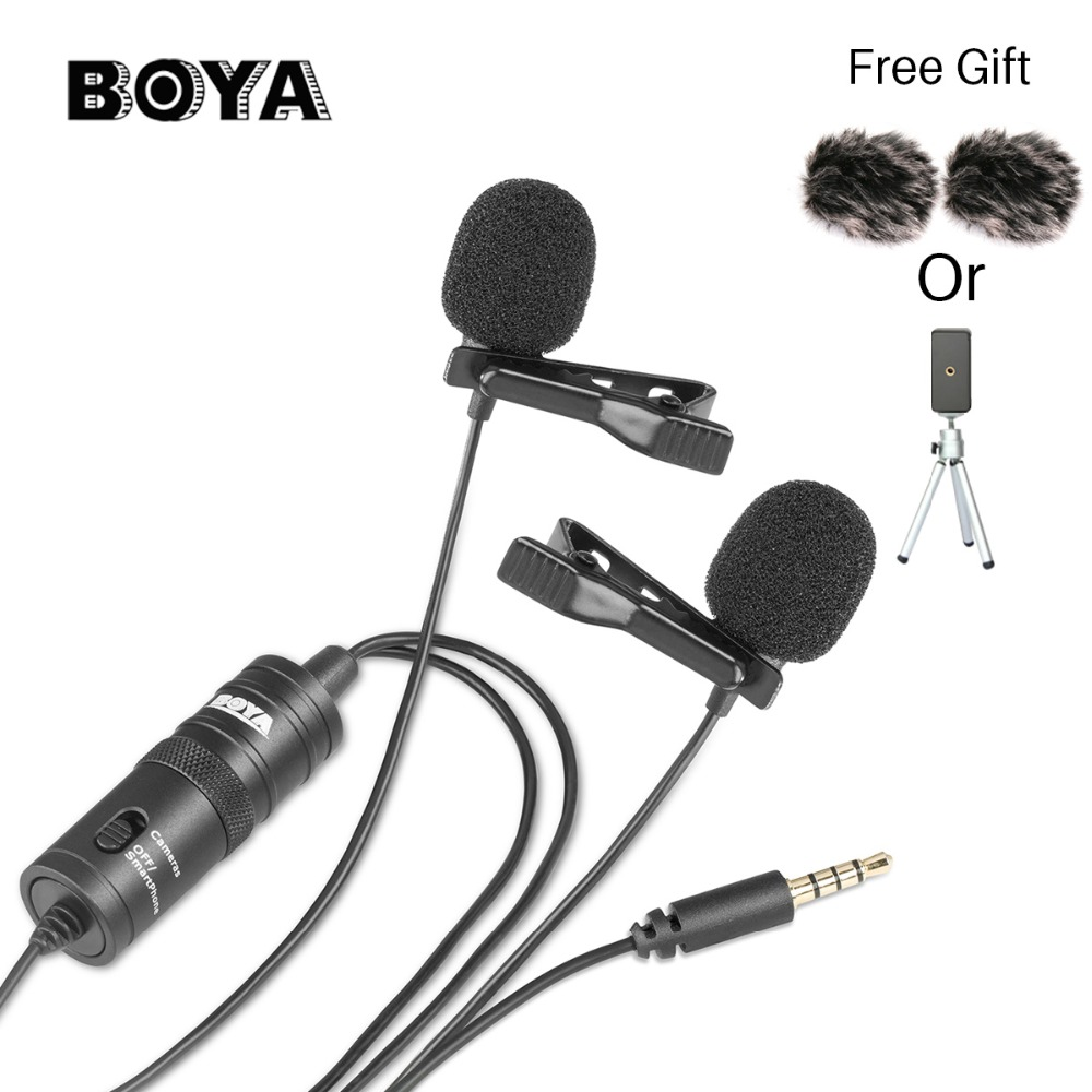 $29.95 | BOYA BY-M1DM Dual Head  Lavalier Omnidirectional Condenser Microphone Audio Record for iPhone Andriod DSLR Canon Nikon Camcorder