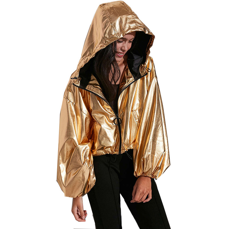 Women   Jacket   Punk Style   Basic     Jacket   Golden Spring Autumn Fashion Simple Metallic Lantern Sleeve Hooded Coat Female Loose Tops