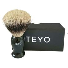 TEYO Two Band Fine Badger Hair Shaving Brush of Resin Handle With Gift Box Perfect for Wet Shave Safety Razor Double Edge